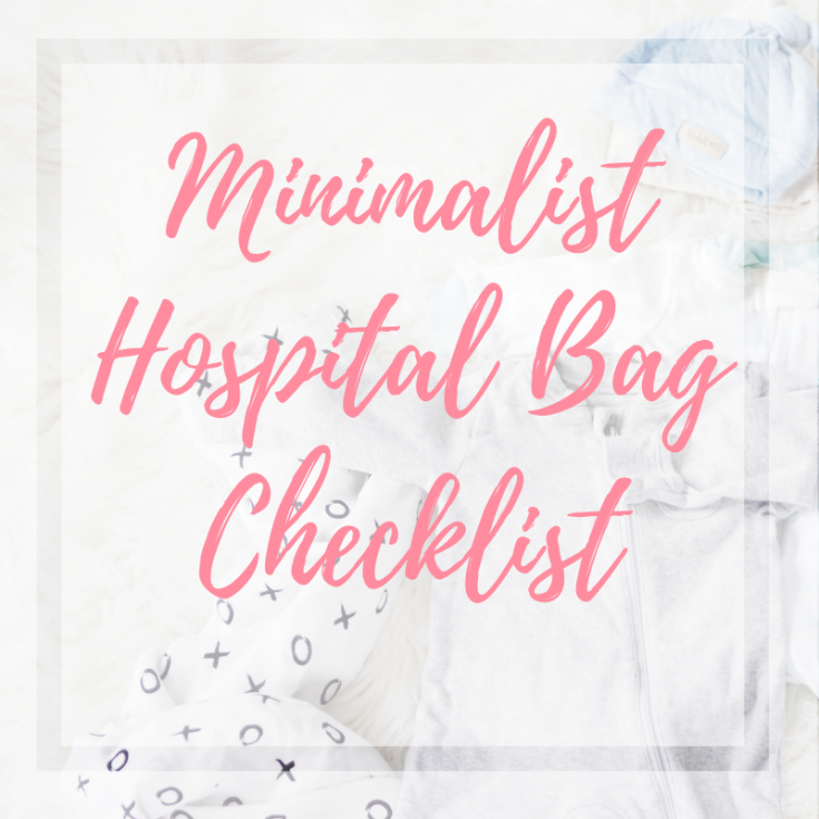 Two baby sleepers with zippers, one grey and one white, layered on top of each other, with one baby blanket underneath with xoxo print, and one blue and one beige newborn baby hat layered on top of each other. Cover photo of minimalist hospital bag checklist blog.