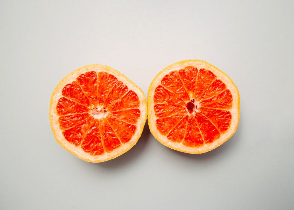Two slices of grapefruit