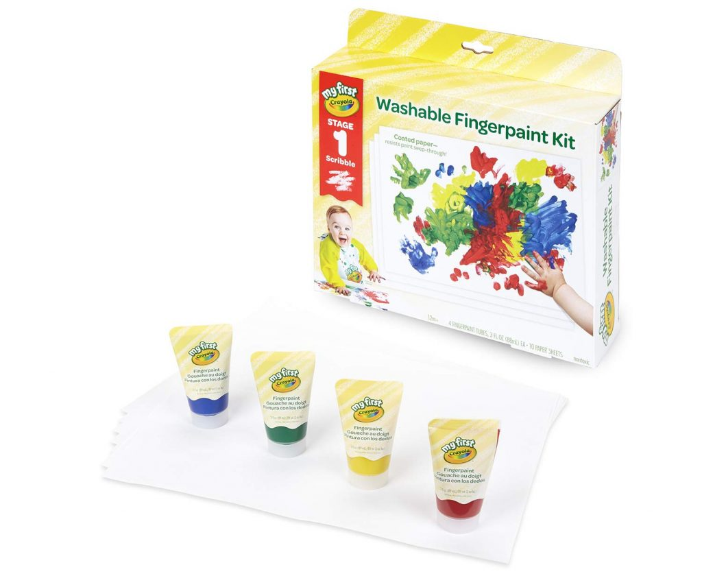 Image of Crayola Washable Finger paint box and four paint tubes on a sheet of white paper