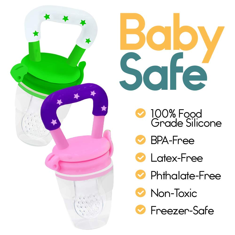 A pair of baby feeders