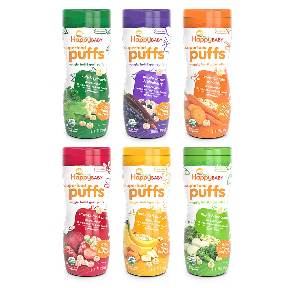 six bottles of Happy Baby Puffs