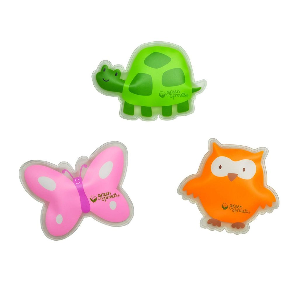 Image of children's ice packs shaped like a turtle, butterfly and owl