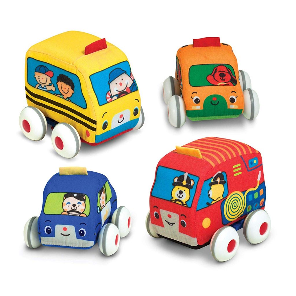 Image of four soft baby car toys