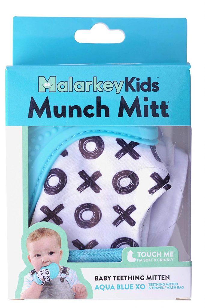 Teething mitten inside box