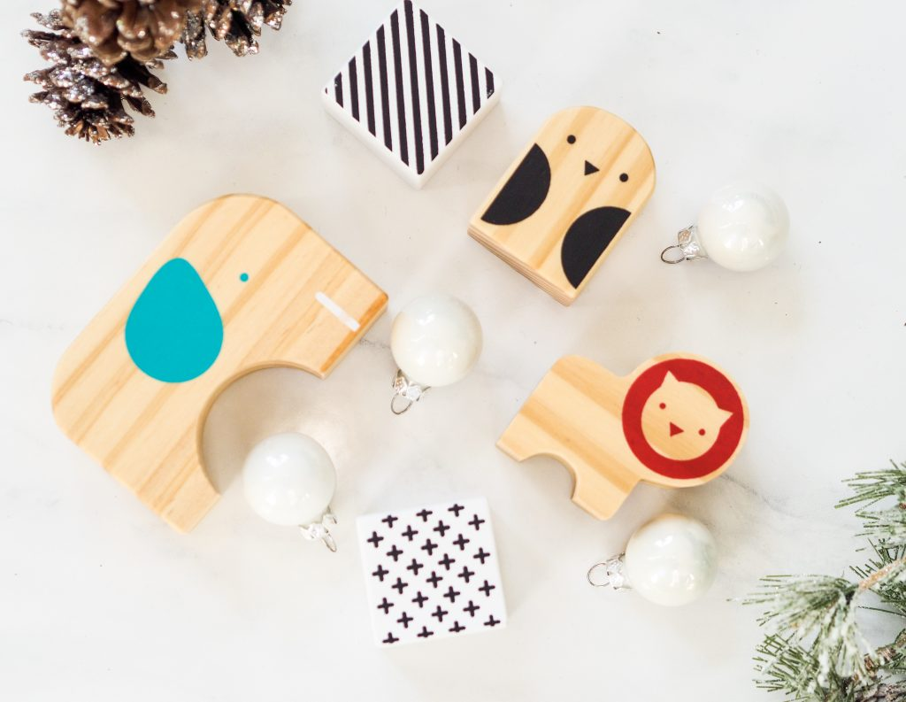 Image of children's wooden block toys and some Christmas decorations