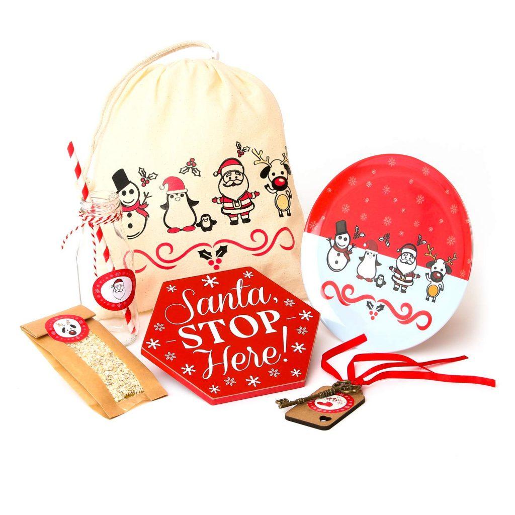 Christmas gift bag, Santa Stop Here sign, Santa Key, Reindeer Food bag and Christmas cookie plate