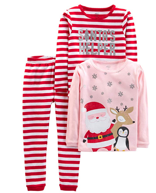 Girl's Holiday Pajama Set in pink and red stripes as a gift for Christmas Traditions