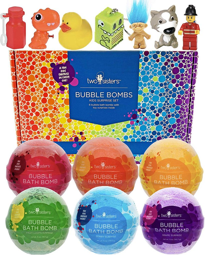 christmas bubble bombs box with six assorted bombs and toys