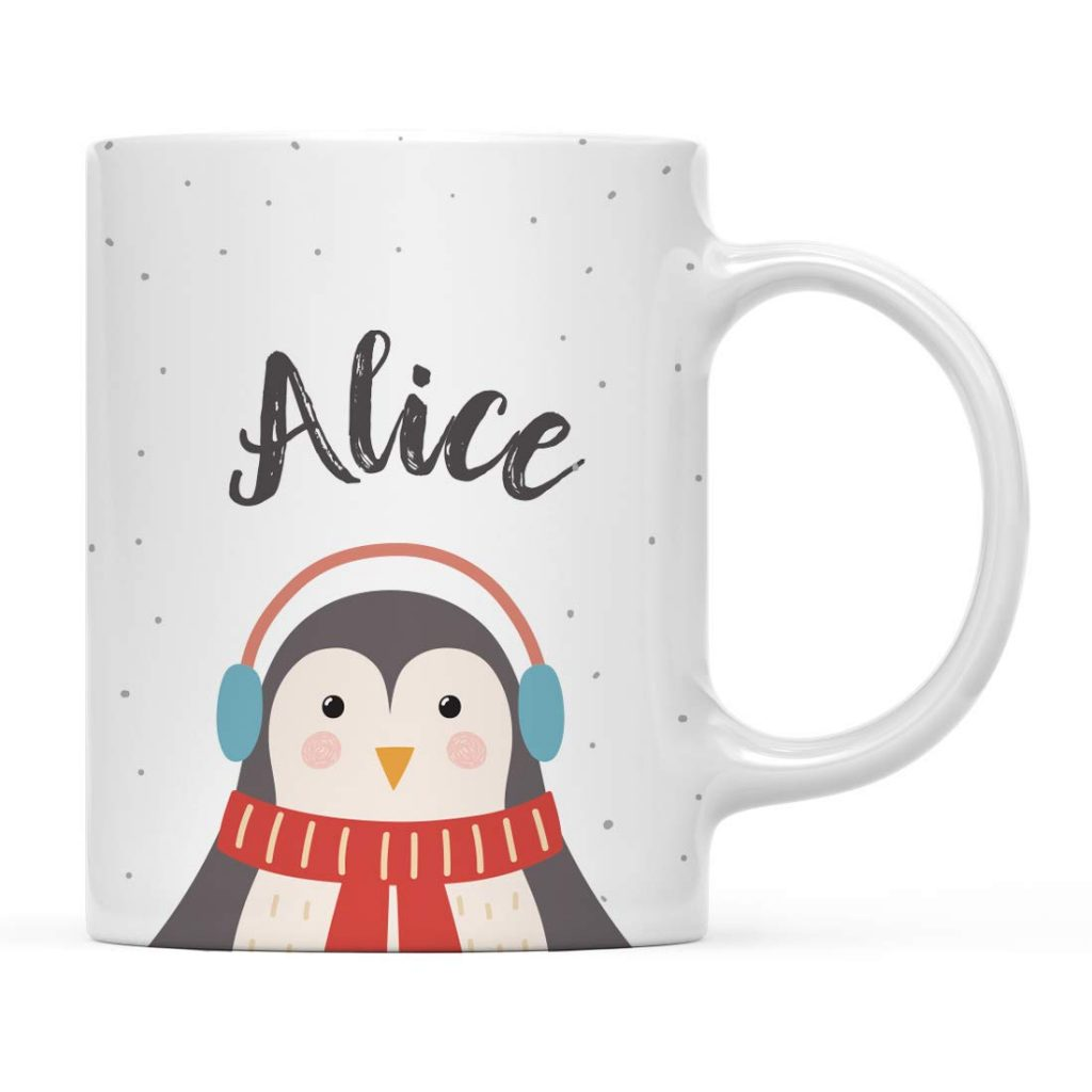 mug with Alice inscribed on it and a penguin wearing a scarf and earmuffs