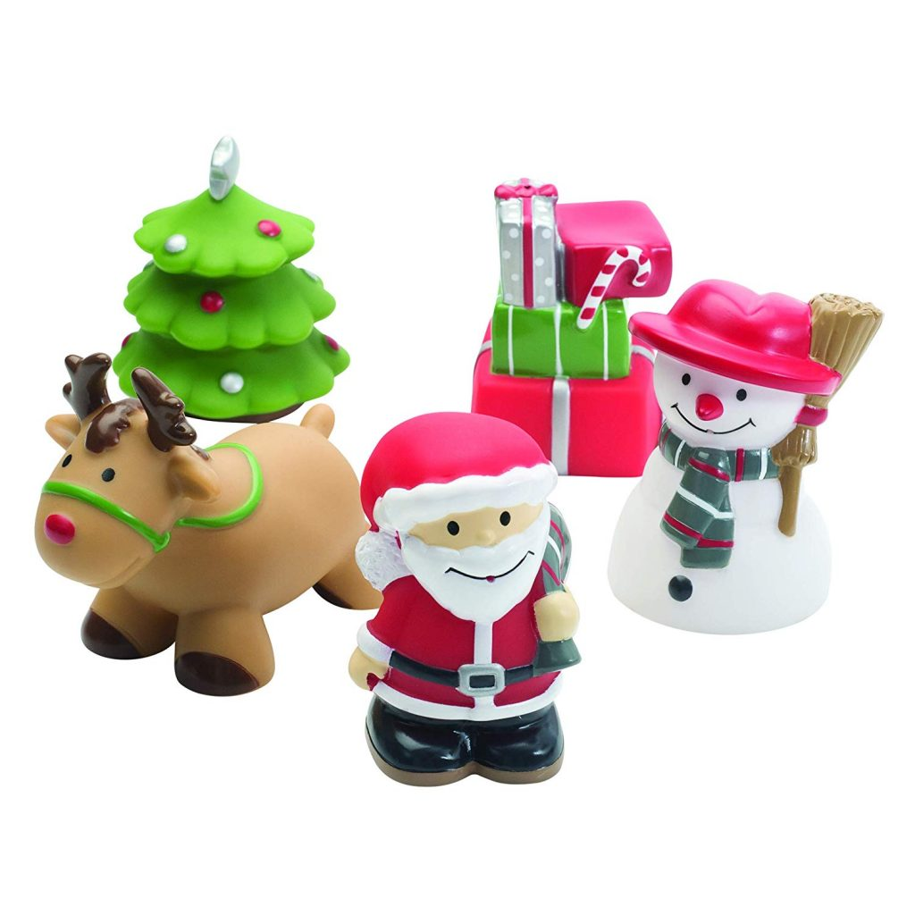 five christmas bath toys, including reindeer, santa, christmas tree, snow man and a pile of presents