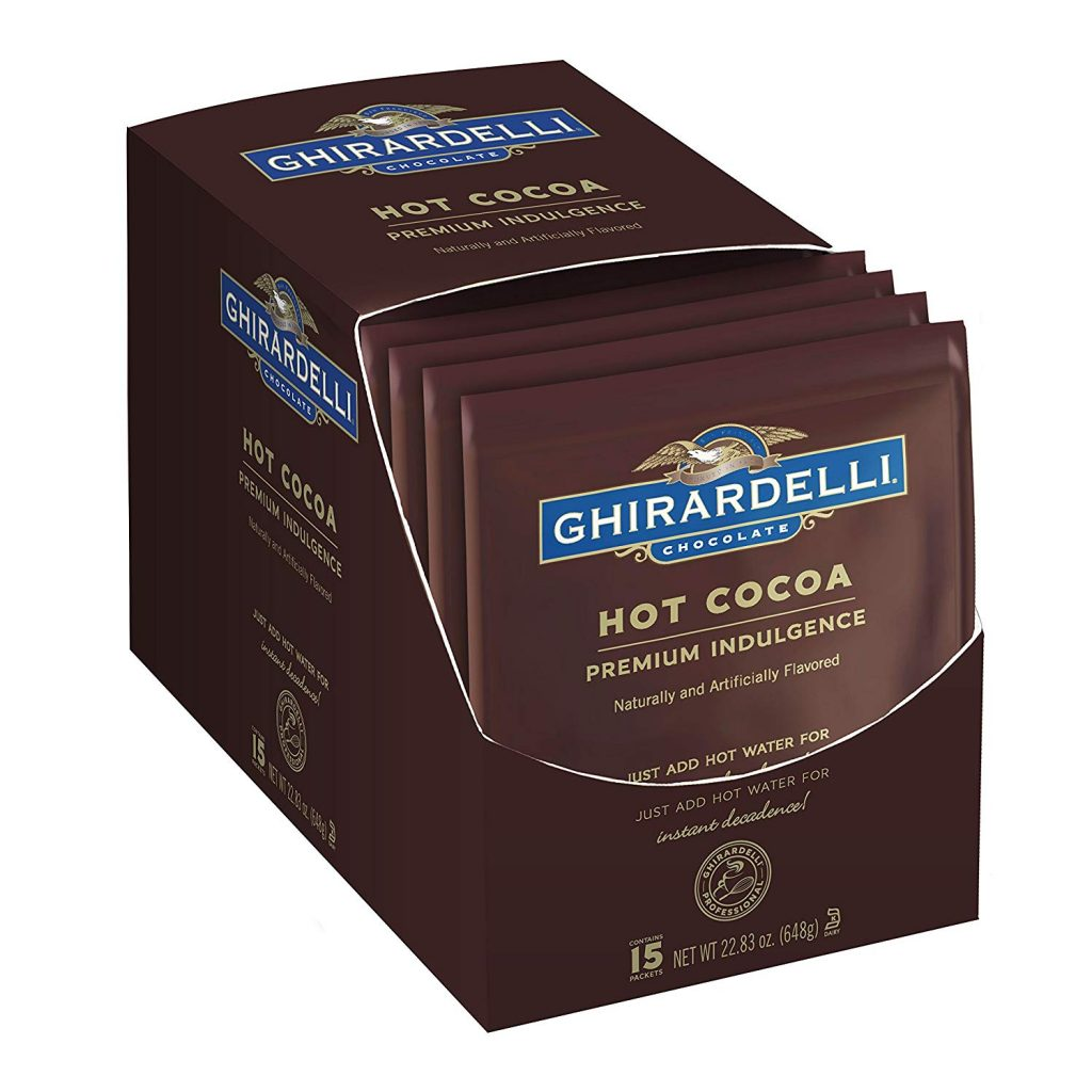 Box of Chirardelly hot cocoa