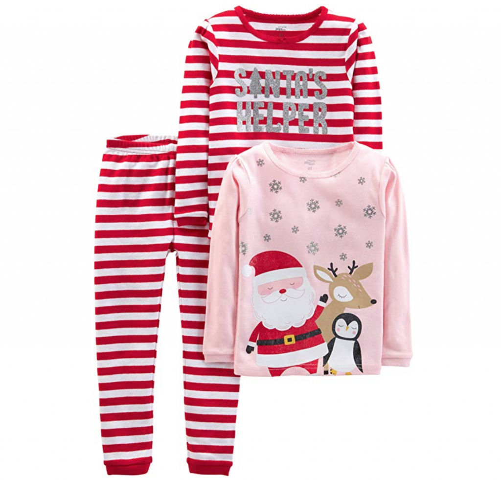 three piece Christmas pajama set for girls in pink and striped with red and white for Christmas eve box