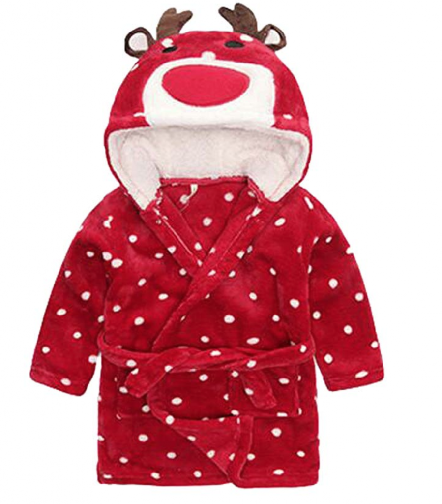Red reindeer bathrobe with polkadots for kids