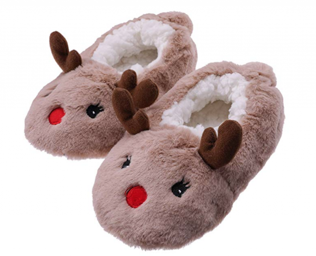A pair of reindeer slippers for toddlers