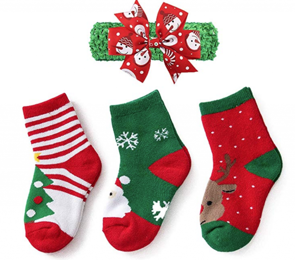 three piece christmas socks with christmas bow for Christmas eve box gift