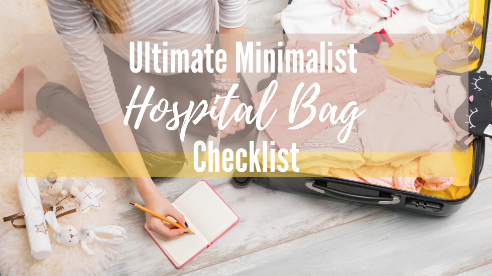 Pregnant woman writing on a notepad and packing a hospital bag
